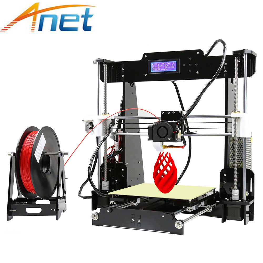 2018 Anet A8 3D Printer Machine Large Printing Size High Precision Reprap Prusa i3 DIY 3D Printer kit with Filament 8G SD Card free shipping face makeup