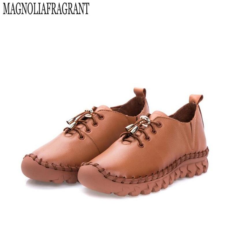 Chaussures femmes à la main chaussures en cuir véritable appartements laçage mère chaussures femme mocassins doux unique chaussures décontractées femmes k78