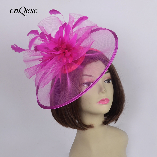 e3175e24995d8 NEW Wholesale Elegant Geisha hot pink Big Fascinator Sinamay hair accessory  Kentucky Derby Hat for Wedding party races