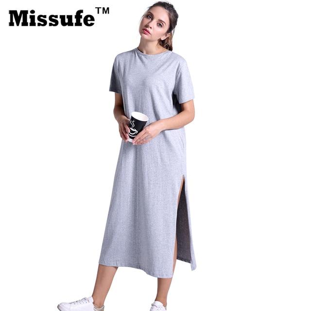Missufe Повседневное свободная футболка платье Летний стиль 2017 г. женская одежда высокое Разделение прямые миди Туника Сарафан пляжный Халат