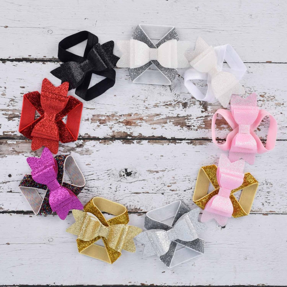 New Glitter Baby Barefoot Sandals Glitter Hair Bow Newborn Sandals Baptism Shoes Baby Toddler Shoes Photo Props Newborn To 12M
