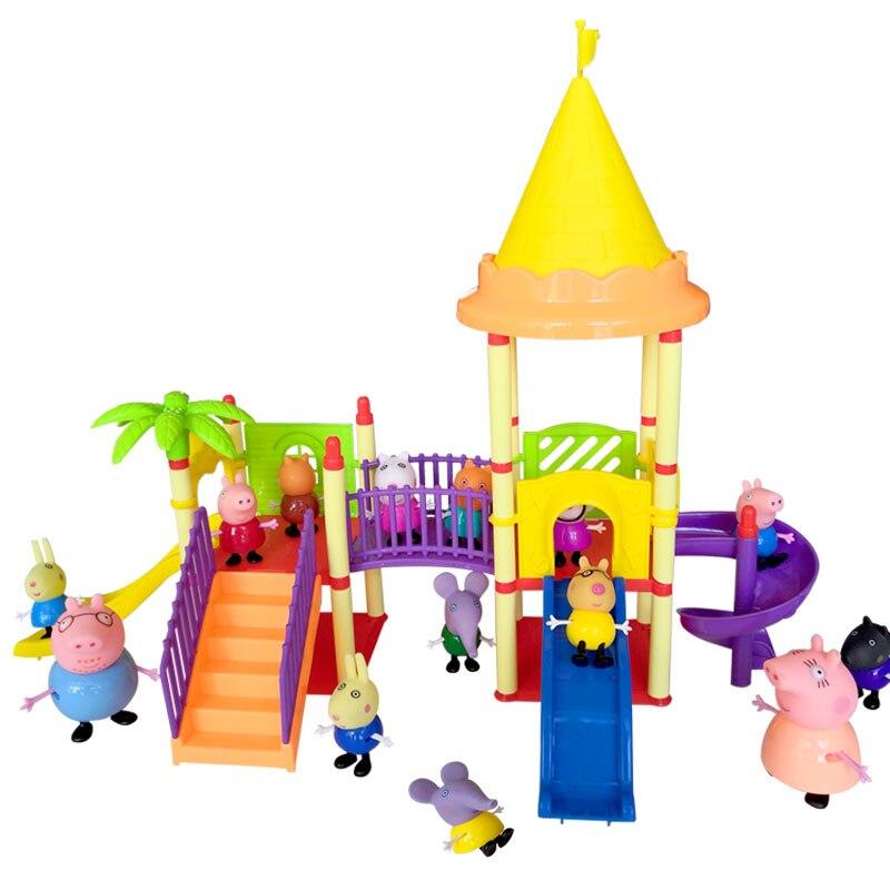 Bela Série sabedoria brinquedos de parque De Diversões Brinquedos Figuras de Ação PVC Membro Da Família peppa pig Brinquedo Do Bebê Presente de Aniversário Do Miúdo
