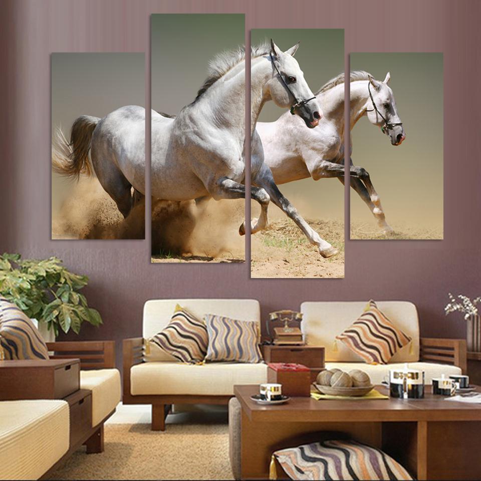 Horse sticker wall art - Modern 4panels Oil Painting Art Canvas Wall Art Hanging Picture Horse Art Modern Living Room Decorative