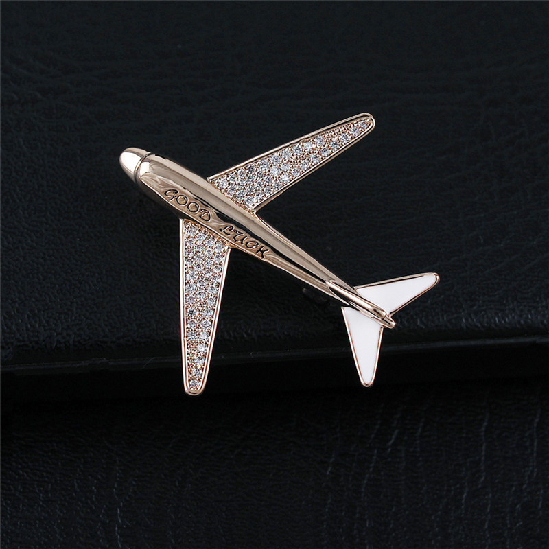 High grade Zircon Airplane Brooch Sparkling Aircraft Man Brooches Pins Women Men Suit Brooch Pin Man Party Brooch Jewelry Gifts image