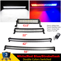 13.5/22/42/50inch Dual Color White,Red & Blue LED Light Bar Curved/Straight Offroad Driving Strobe Traffic Emergency Warning