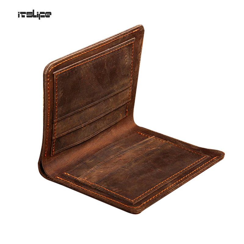 Crazy horse leather men wallets vertical and cross styles genuine leather wallet for men cowboy top leather Vintage purse card crazy for the cowboy