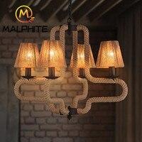 Современный пеньковый Канат подвесные светильники для гостиной кухня лампа скандинавский Ретро светодио дный светодиодный подвесной свет