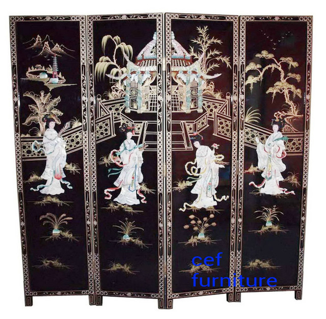 Mother Of Pearl Inlay Wooden Mini Folding Screen Asian: Mother Of Pearl Beauty Women Inlay Hand Painted Screen