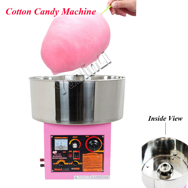Electric /Gas Cotton Candy Machine Commercial Candy Cotton Maker Stainless Steel Candy Cotton Machine in Pink Color WY-771