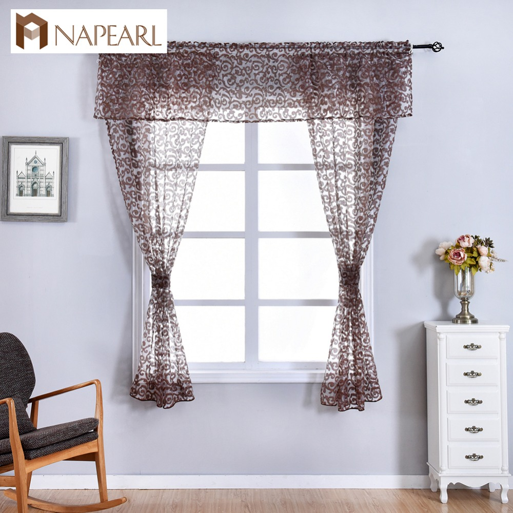 NAPEARL Classic Floral Kitchen Rod Pocket Curtains Window Valance and Tiers Sheer Short Drapes Jacquard Tulle Bay Window Voile window valance