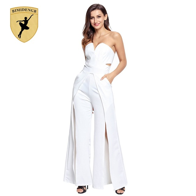 c930322dd1 BIMIDENGB Hot 2017 Sexy mulheres Jumpsuit Branco Vermelho Grande Macacão  longo solto Rompers partido mulheres Casual