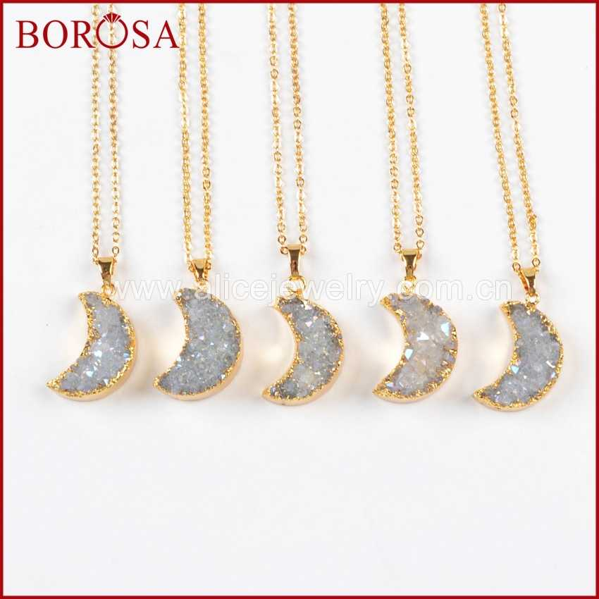 BOROSA 5PCS Gold Colors Moon Shape Druzy Crystal Geode Quartz Drusy AB Color Pendant Necklace for Women Girls G0388-N
