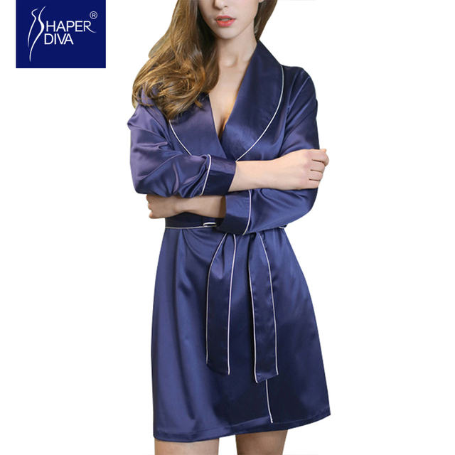 Burvogue  New Spring Comfortable Robe Sets Solid and Mini Nightwear Waistband Nightdress Fine Design nightgown  for women