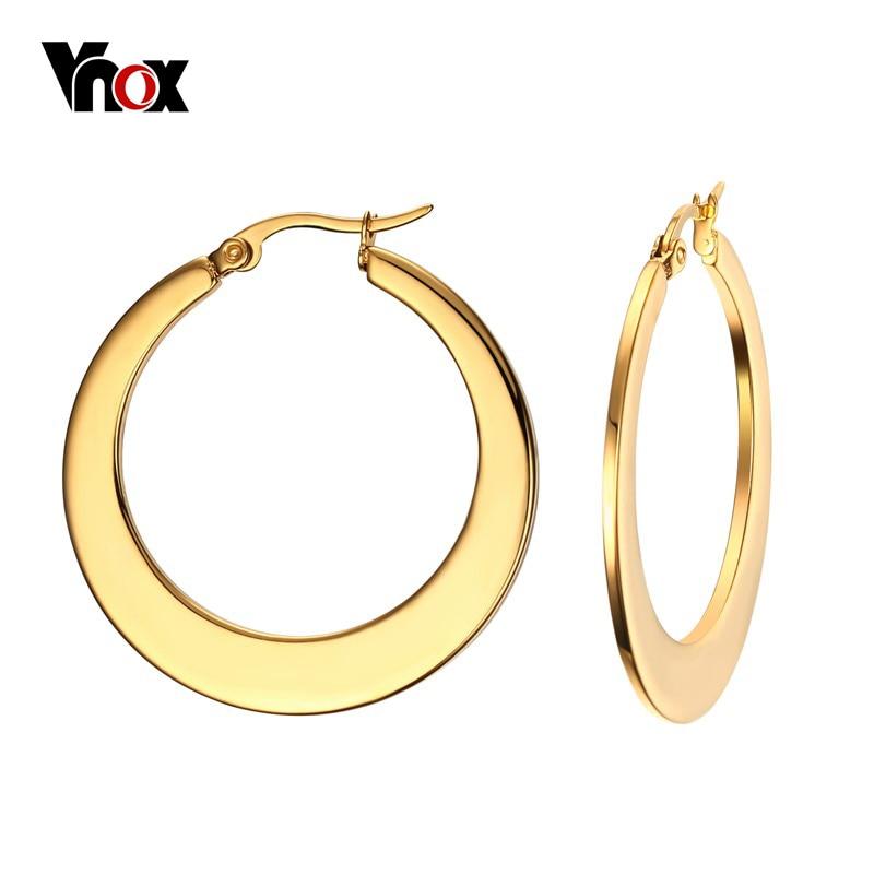 Vnox Gold-color Hoop Huggie Earrings for Women Classic Stainless Steel Charm Elegant Earrings pair of elegant faux white jade hoop earrings for women page 2