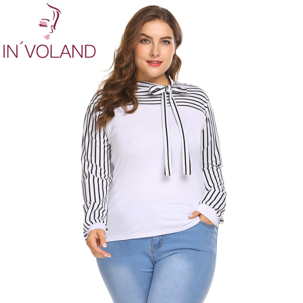 0f81b37076 IN VOLAND Plus Size Women T Shirt Tops XL 5XL Spring Autumn Tie Bow Neck  Puff Sleeve Striped Slim Fit Pullover Tshirt Big Size-in T-Shirts from  Women s ...