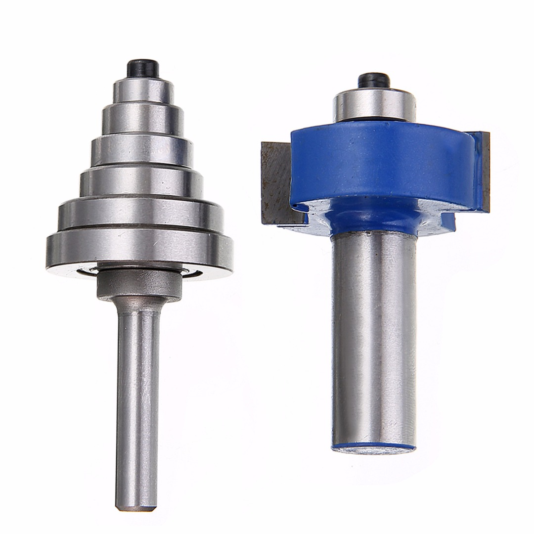 2pcs 2 Flutes Carbide Rabbet Router Bit 1/2 x 2-5/8 with 6 Bearings Set For Woodworking Milling Cutter high grade carbide alloy 1 2 shank 2 1 4 dia bottom cleaning router bit woodworking milling cutter for mdf wood 55mm mayitr