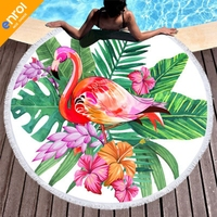 Printed Tropical Leaves Flower Flamingo Beach Towel Round Microfiber Beach Towels Roundie For Adults Cheap Serviette De Plage