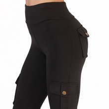 NORMOV Fitness Pants For Women High Waist Pocket Patchwork Leggings Solid Push Up Clothing Polyester Cargo