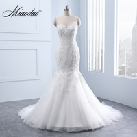 Miaoduo Elegant V Neck Backless Appliques Lace Pearls Mermaid Wedding Dresses Real White Bridal Gown Vestido