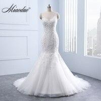 Miaoduo Elegant V neck Backless Appliques Lace Pearls Mermaid Wedding Dresses real White Bridal Gown vestido de noiva brautkleid