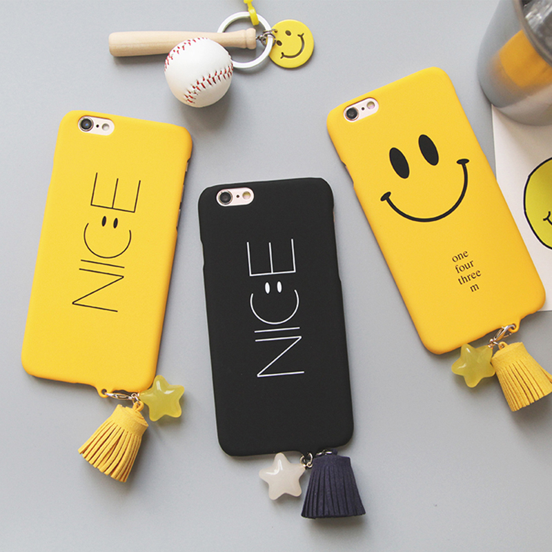 Cover For Iphone7 Small Fresh Smiley Letter Pattern Phone Case For Iphone 6S 6 7 plus Protective Cover 6plus Scrub Hard Shell