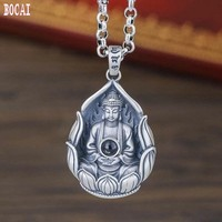 S999 sterling silver jewelry creative men and women patron saint amulet Amitabha silver necklace the Buddha silver pendant