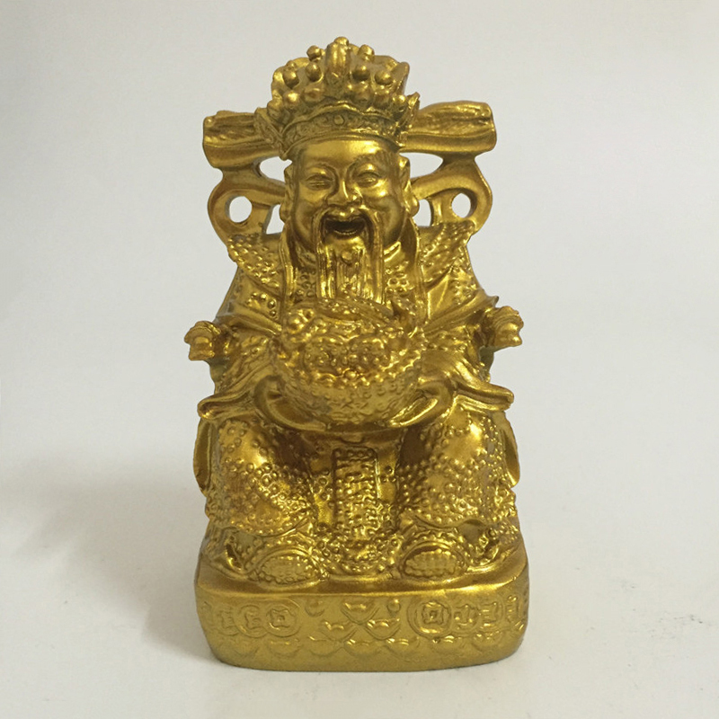 Golden Chinese Feng Shui God Of Wealth Buddha Statue Sculpture Man-made Stone Craft Ornaments Buddha Statues Home Decoration