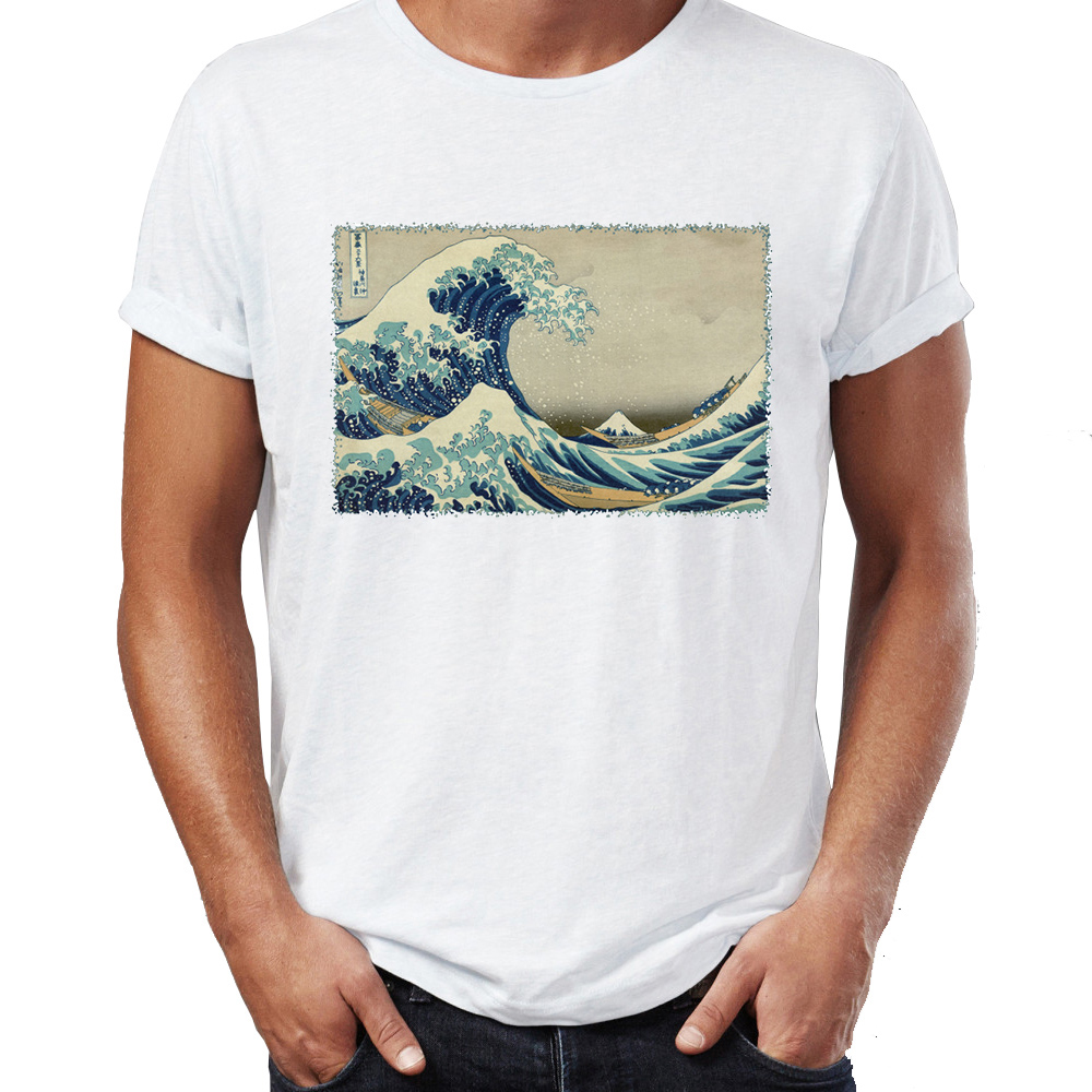 9fbc1553 Men's T Shirt The Great Wave Off Kanagawa Japanese Art Awesome Artwork  Printed Tee