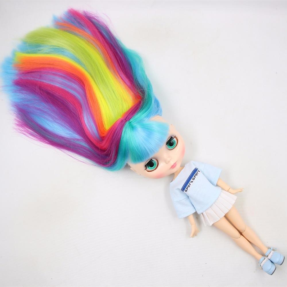 все цены на factory blyth doll bjd straight colorful hair with bangs joint body natural skin 1/6 30cm