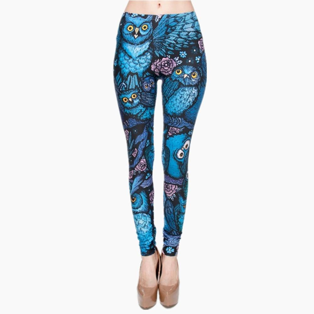 New Hot Night Owl Full Printing Pants Women Clothing Ladies Fitness Legging Stretchy Trousers Skinny Leggings