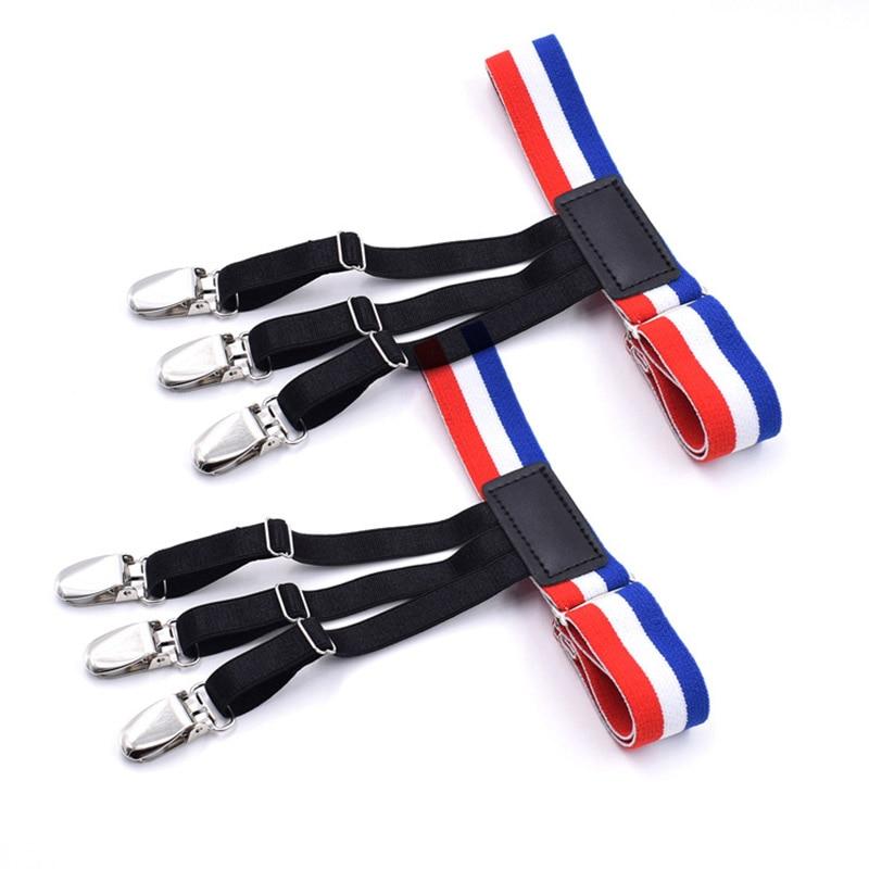 Mens Fashion Stripe Shirt Stays Holders For Men Adjustable Elastic Shirt Garters Leg Suspenders Non-Slip Clamp Skin-friendly