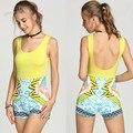 Fashion Women Jumpsuit Sleeveless Summer Sexy Backless Print Splicing Slim Tank Short Jumpsuit