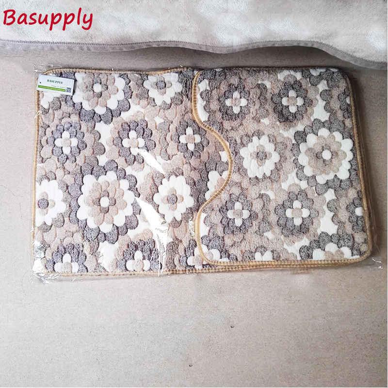 Basupply 2 шт./компл. коралловый флис пены памяти коврик Ванная комната ковер Кухня Туалет нескользящие носки-тапочки Carpet матрас для Ванная комната декор