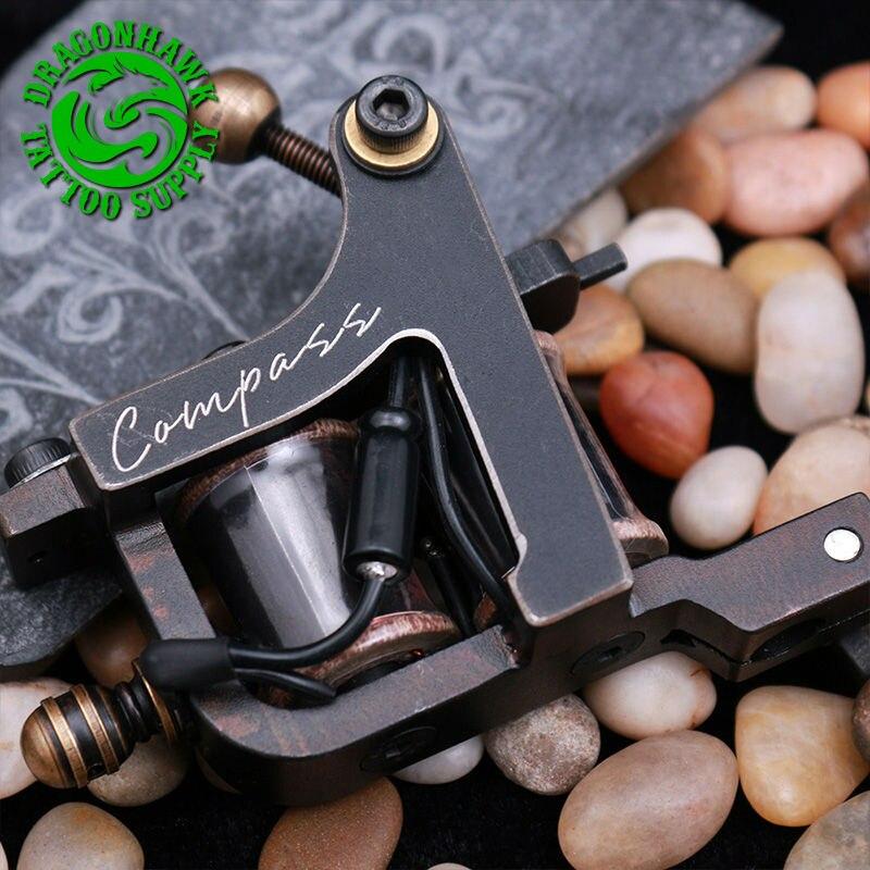 New Arrive Compass Tattoo Machine Liner  & Shader Steel Frame Copper Coils Tattoo Gun professional compass tattoo machine liner