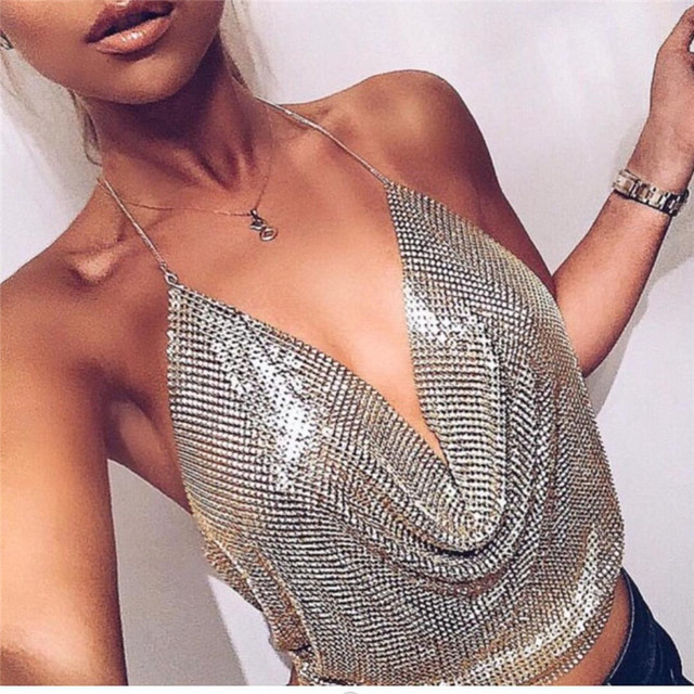 Sequin Halter Deep V-Neck Backless Top