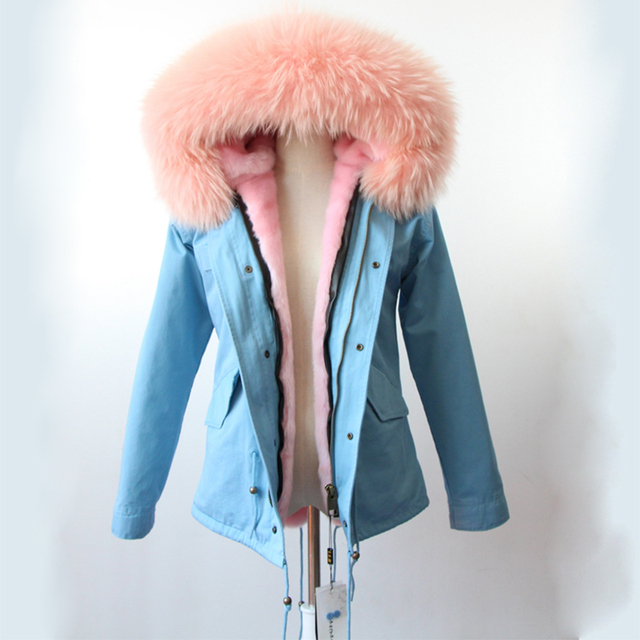 Cheap Women Winter Parka Down Coat 2016 Real Large Natural Raccoon Fur Collar Hooded Down Jacket Parka Warm Outerwear Anorak Y025