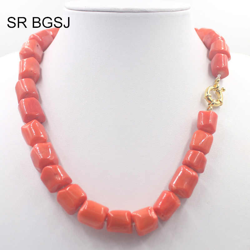 "Free Shipping 18"" 12-14mm Orange  Coral Beads Women Trendy Choker Statement Coral Necklace"