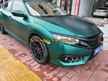 Best Quality Matte Emerald Green Satin Metallic Vinyl Car Wrapping Film Air Bubble Free Vehicle Graphic Foil Sticker