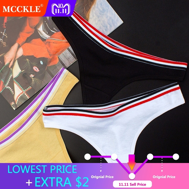 880473418cd MCCKLE Women Sexy Cotton G String Striped Briefs Panties Tanga 2018 Fashion  Underwears Solid Pink Low Rise Lingerie Thong Panty
