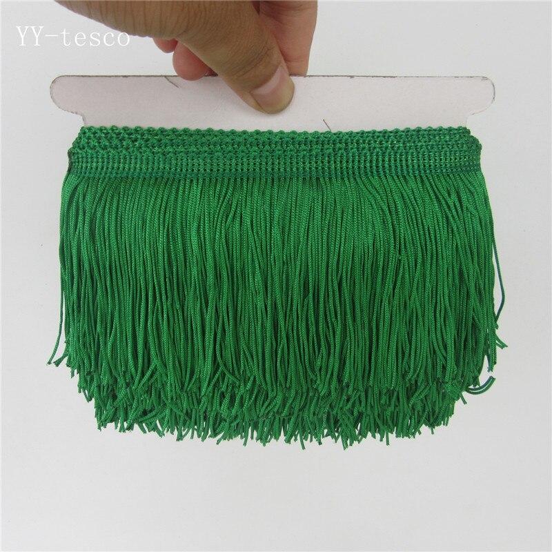 1 ярд, бахрома, отделка с кисточками, кружево, латинское платье, макраме, Самба, Одежда для танцев, кружево, полиэстер, одна полоса, ширина 10 см - Цвет: green