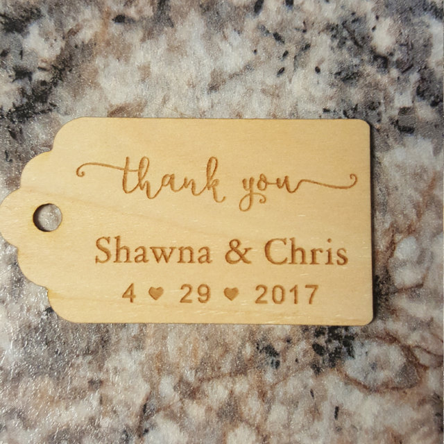 Custom Wooden Thank You Tag Rustic Wedding Favor Tags Personalized