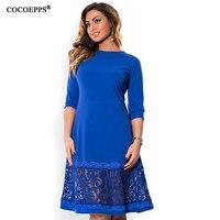 COCOEPPS L 6XL Elegant Blue Women Dress Big Sizes Autumn O Neck Loose Dresses Plus Size