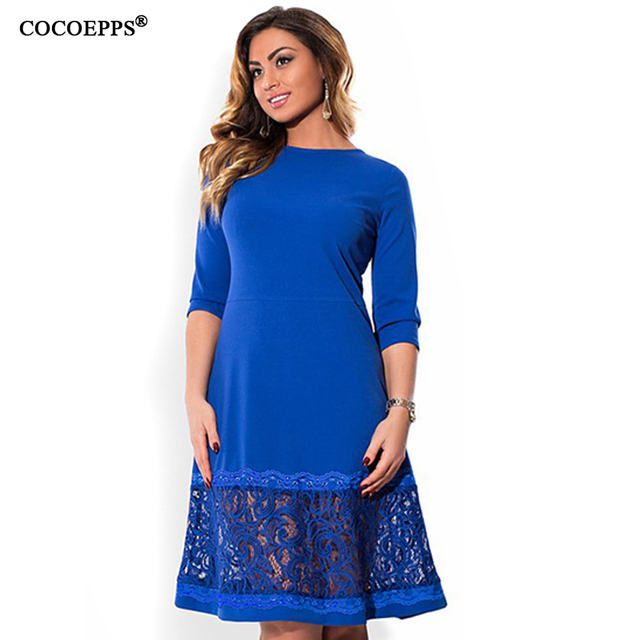 fdc7b9726a1ad3 COCOEPPS L-6XL elegant blauw vrouwen jurk grote maten Herfst o-hals losse  jurken