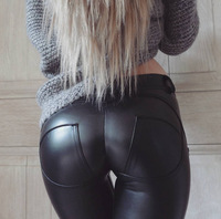 Womens PU Leather Leggings 2018 Winter Sexy Hip Push Up Pants Legging Female Faux Leather Low Waist Pencil Pants YY01