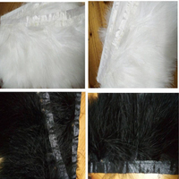 Wholesale 10 yards white/black Turkey fluff feathers ribbon 8 9cm/3 4 inches