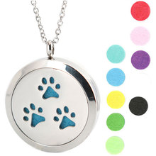 10pcs 30mm Dog Paw Aromatherapy Essential Oil surgical Stainless Steel Perfume Diffuser Locket Necklace