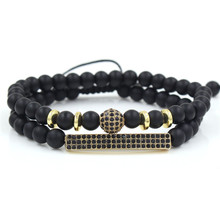 Womens Mens 6mm Black Matte Beads Couple Bracelets 2Pcs/Sets CZ Ball & Bar Charm Braiding Elastic Bracelet Set for Women Men