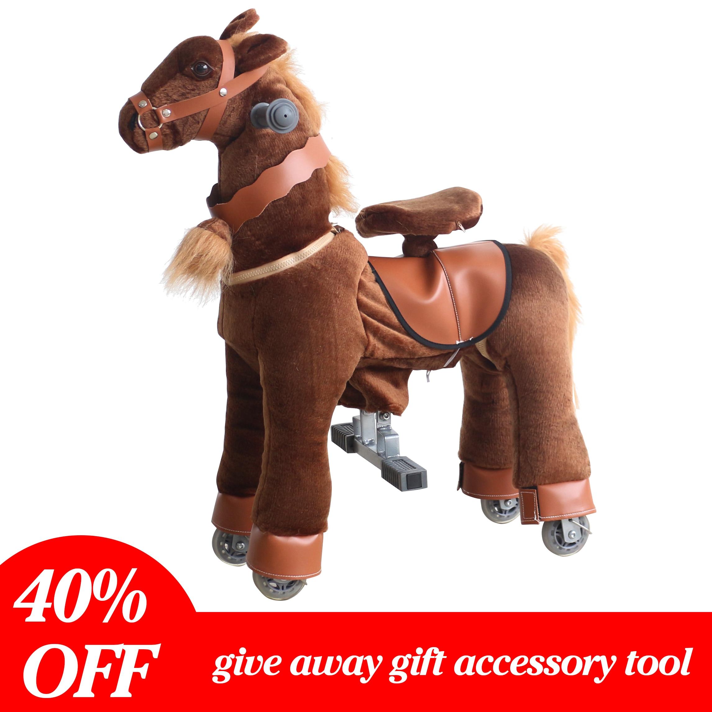 Équitation Animal mécanique jeu de course de chevaux monter sur des jouets de cheval pour les enfants âgés de 3-7 ans brun profond petit poney cadeaux pour enfants