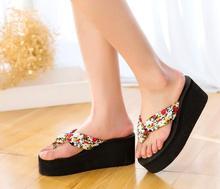 2018 новый женщин маленький цветок вьетнамки клинья пятки женская обувь летние сандалии t016