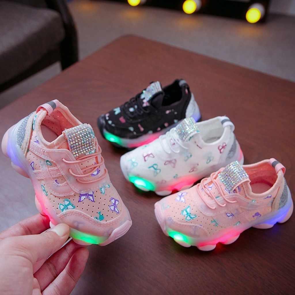 เด็กสาวผีเสื้อคริสตัล Led Luminous Sport Run Sneakers รองเท้าชาร์จรองเท้าผ้าใบเด็กลำลองเด็ก #3